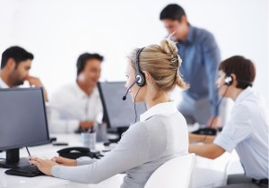 Call Center agent helping a customer