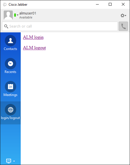 Control Screen for ALM-Jabber integration